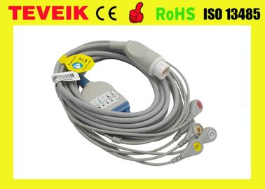 Compatible Mindray PM6000 One Piece 5 lead ECG Cable with snap IEC For Medical Use